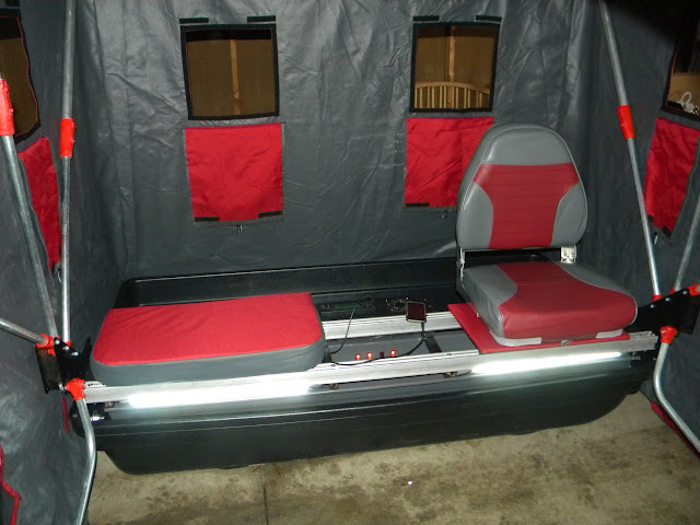 Mods to portable almost complete lights seats stereo for Ice fishing seat